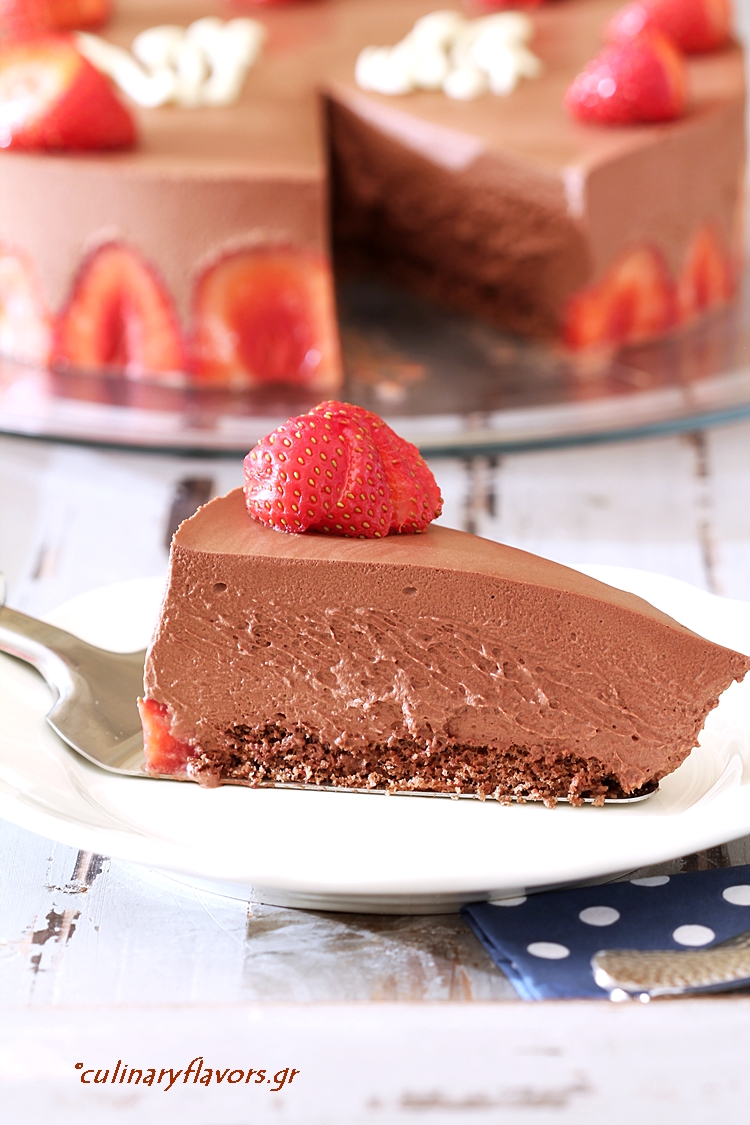 Chocolate Mousse Torte with Strawberries