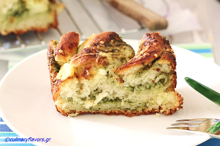 Pesto Stuffed Brioche Bread