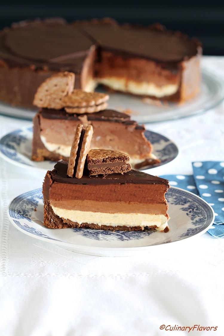 Three Layered Chocolate Cheesecake