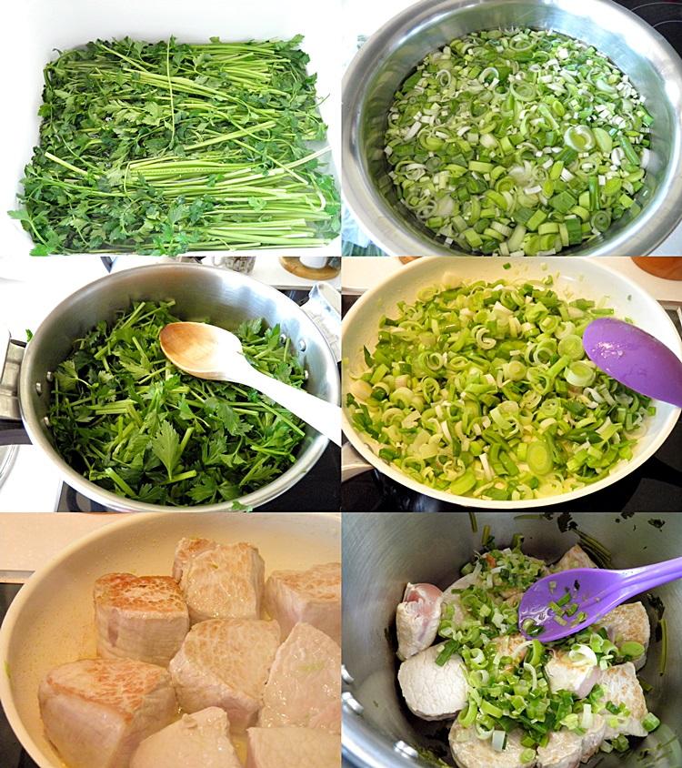 Pork with Celery and Avgolemono Sauce