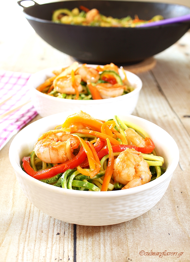 Mediterranean Shrimps with Zoodles